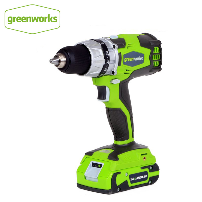 Greenworks G-24 24V Brushless motor Cordless DigiPro 2 Speed Compact Drill Max with Battery and Charger
