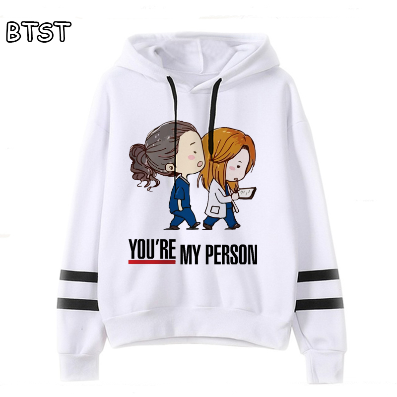 New  Korean Hoodie Greys Anatomy Female Sweatshirt Japanese Hoodies Casual Pullover Harajuku Shirt 90s Kawaii Clothes Kpop Tops