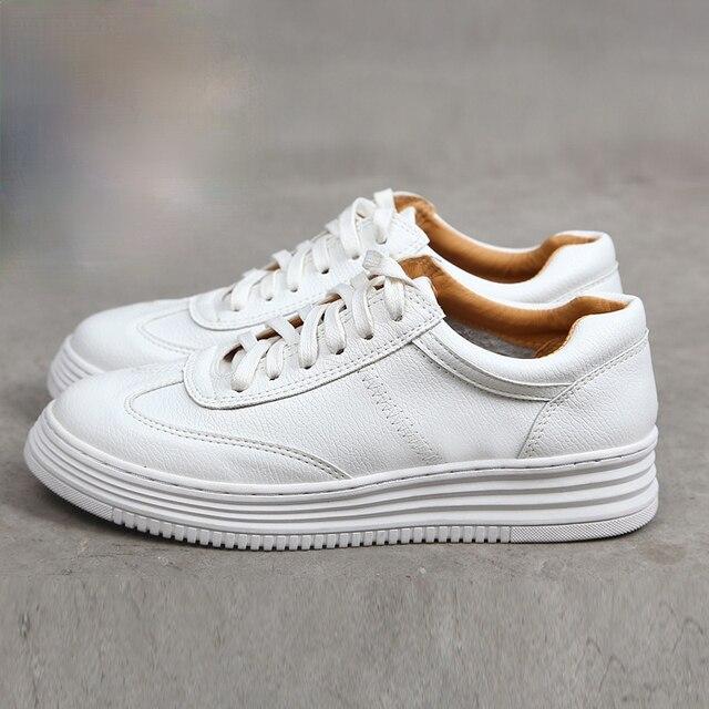 Fashion White Split Leather Women Chunky Sneakers White Shoes Lace Up Tenis Feminino Zapatos De Mujer Platform Women Casual Shoe 1
