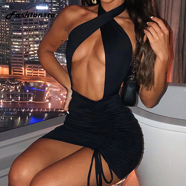 Fashionsta Sexy Criss Cross Neck With Tie Up Mini Dress Solid Hollow Out Halter Dress Party Club Dresses Summer Bodycon Vestidos 3