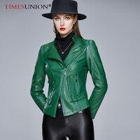Herbst Frauen Leder Jacke Lässig Stehkragen Dünne Leder Jacke Frauen Mode Städtischen Freizeit Pu Zipper Kurze Leder Frauen