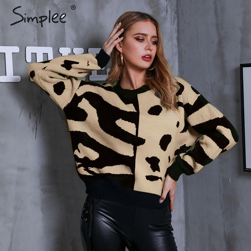 Simplee Khaki Patchwork Knitted Sweater Women Autumn Long Sleeve Pull Jumper Sweater Female Fashion Winter Outwear Pull 2019