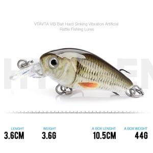Image 3 - TREHOOK 36mm 3.6g 5 pièces Mini appâts de pêche à la manivelle appâts artificiels Topwater appâts durs méné nageurs Wobblers pêche à la carpe ensemble de leurres