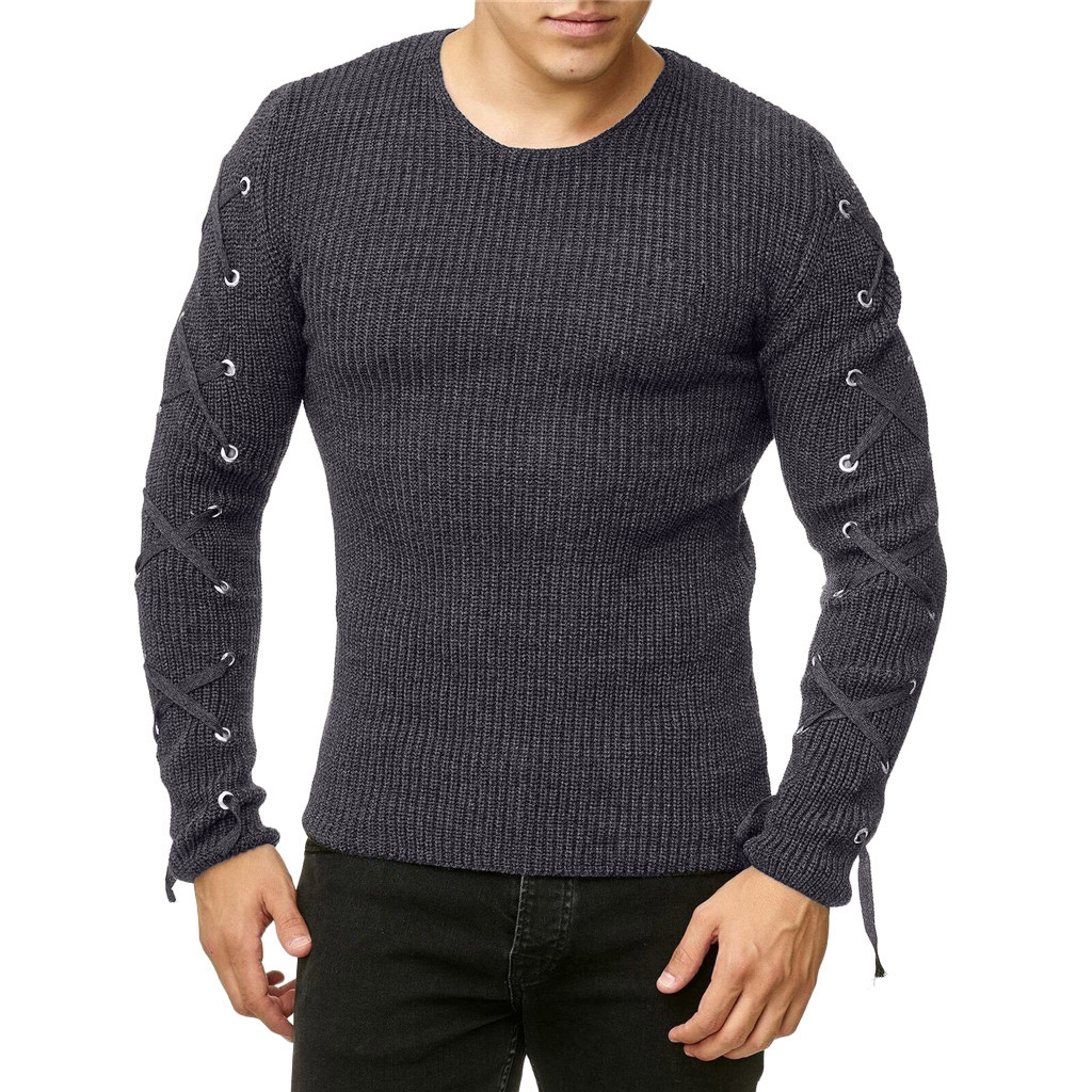 Sweater Men Long Sleeve Thick 2XL Bandage Sleeve Winter Sweater Man 2019 High Quality Men Sweaters