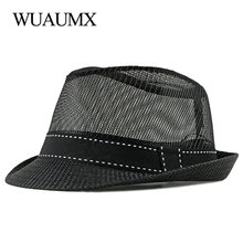 Fedoras Hat Breathable Summer Jazz-Caps Spring Female Hollow-Out Men's Wuaumx for Beach
