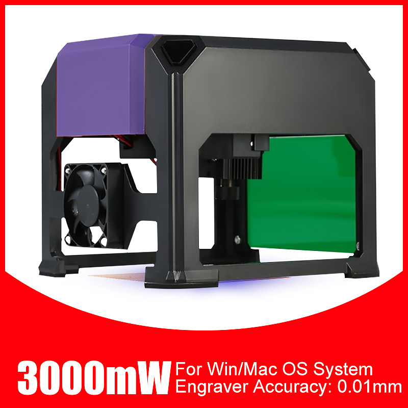 3000mW CNC Laser Engraver Mini DIY Home Desktop Logo Mark Printer Cutter Laser Engraving Machine Woodworking Wood Router 80x80mm