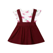 6M-5Y Flower Toddler Kid Baby Girl Clothing Set Ruffles Top Shirt+ Tutu Skirt Outfits Floral Girls Costumes