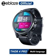 Zeblaze 토르 4 프로 4G SmartWatch 1.6 인치 크리스탈 디스플레이 GPS/GLONASS 쿼드 코어 16 기가 바이트 600mAh 하이브리드 가죽 스트랩 스마트 시계 남자