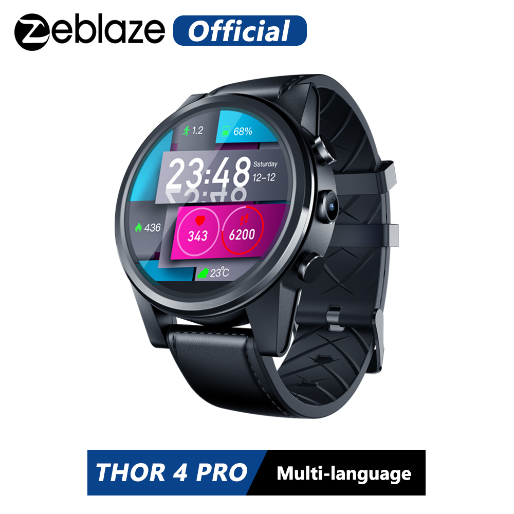 Zeblaze THOR 4 PRO <font><b>4G</b></font> <font><b>SmartWatch</b></font> 1.6 inch Crystal Display GPS/GLONASS Quad Core 16GB 600mAh Hybrid Leather Strap Smart Watch Men image