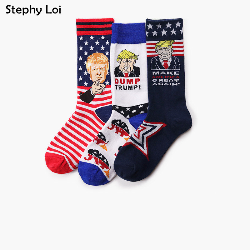 Novelty President Donald Trump Cotton Crew Men Women Socks Star Casual Hip Hop Skateboard Gift High Quality Designer Black Crazy