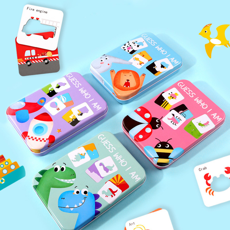 Who Am I Matching Card Board Game Jigsaw Baby Early Educational Toys Puzzle For Kids Wooden Montessori Gifts