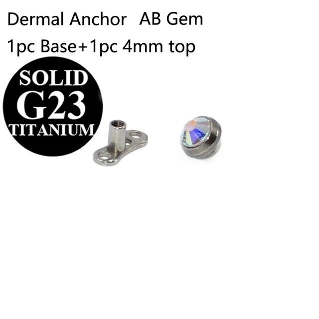 3mm dermal anchor head piercing titanium skin diver CZ flat skin
