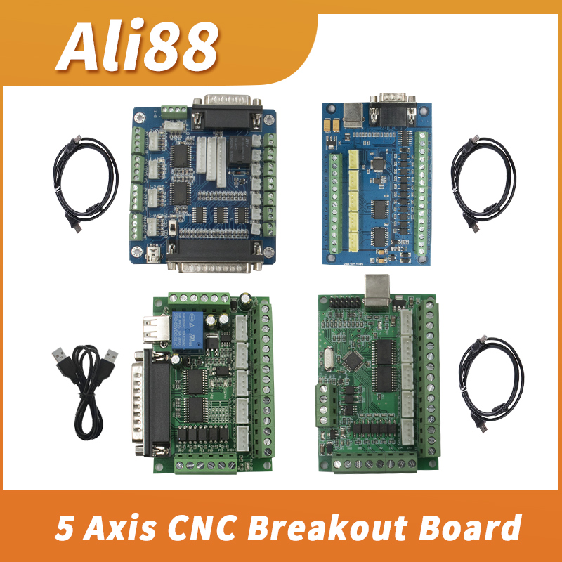 1pcs Cnc 5 Axis MACH3 Breakout Board With Optical Coupler For NAME 23 34 Stepper Motor Drive Controller  Engraving Machine