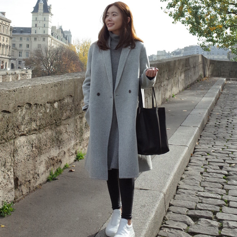 Fashion Women New Wool Coat Autumn And Winter Long Straight Jacket Thick Section