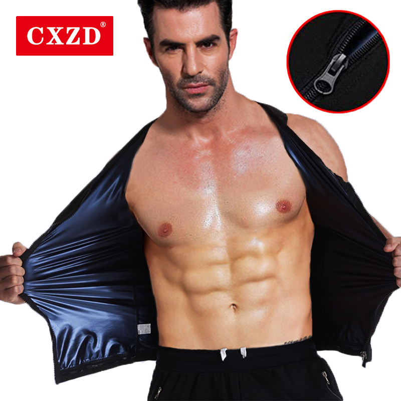 CXZD New Men Hot Body Fat Burning Sweat Sauna Shaper Fitness Vest Gym Tank Top Shirts Suit Slimming Weight Loss Control Tummy