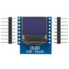 "10 pçs 0.66 ""polegadas 64x48 iic i2c oled led lcd dispaly escudo compatível 0.66 polegada display para wemos d1 mini esp32"