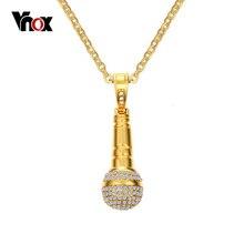 Vnox Rock Punk Microphone Necklace & Pendant Men/Women Stainless Steel Gold-color CZ Stone Hip Hop Necklace vnox rock punk necklace men jewelry 100% tungsten carbide necklaces