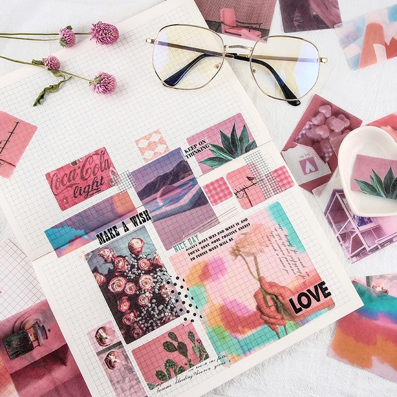 Mohamm 70Pcs/Pack Ins Style Decorative Sticker Books Scrapbooking DIY Note Paper Sticker Flake Stati