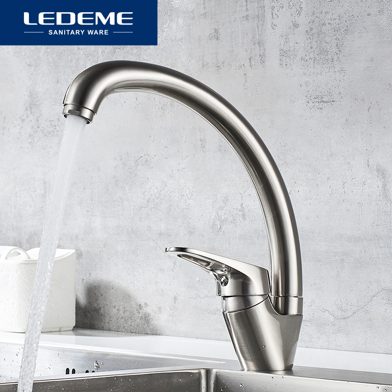 LEDEME Kitchen Faucet Mixer Hot And Cold Single Handle Tap 360 Degree Rotation Kitchen Water Sink Mixer Taps Faucets L5913A
