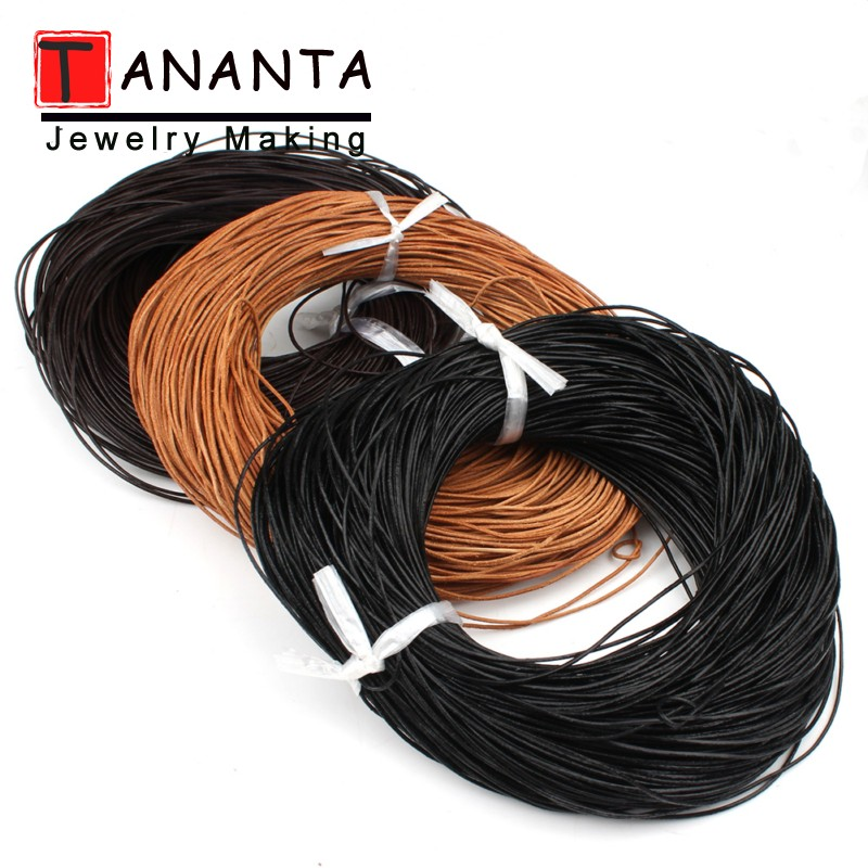 5m Genuine Leather Round Leather Cord String Necklace Rope For Jewelry Making DIY Bracelet Retro Crafts Findings Dia 1/1.5/2/3mm