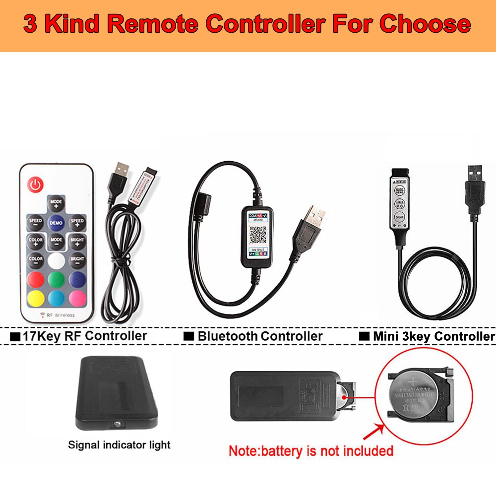 Hdcd6235c373b4627946522305ed8f92aQ RGB Tape Bluetooth USB LED Strip TV Background Flexible Neon Ribbon tira Lamp 5V 0.5M SMD 5050 RF Controller LED RGB Strip Light