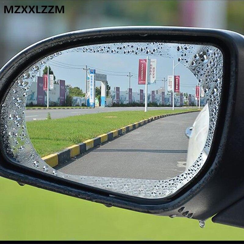 2 adet set araba dikiz aynası su geçirmez etiket pencere şeffaf film Anti sis parlama önleyici cam folyo oto koruyucu çıkartmalar