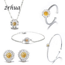 925 Sterling Silver Jewelry Sets for Women Flower Pendant Necklace Earrings Ring Bracelet Bangle Elegant Engagement-Gifts(China)