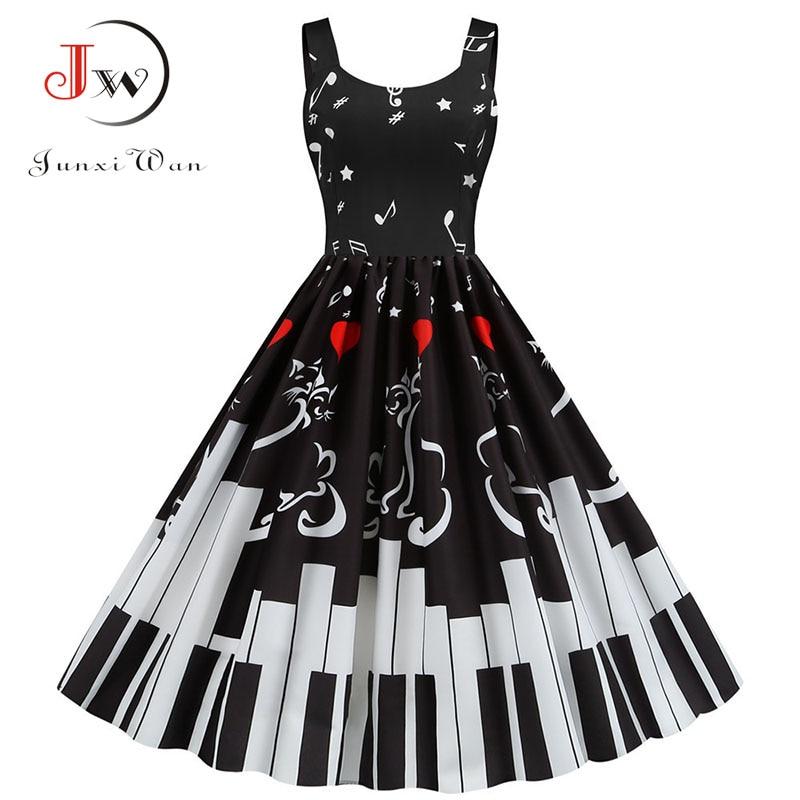 Sexy Music Note Print Women Party Dress Summer Spaghetti Strap Black Slim Vintage A-line Robe Plus Size Valentine's Vestidos