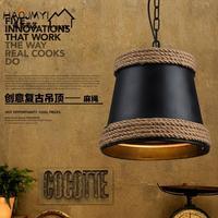 Loft vintage americano ferro corda lustre difusa café personalidade hall bar industrial lustre luminária