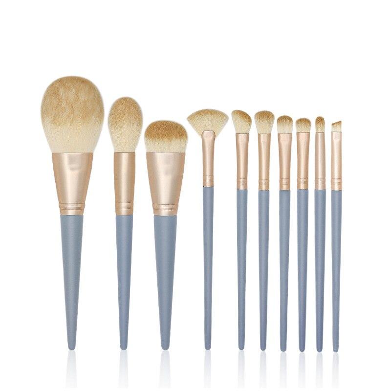 Купить набор профессиональных кистей для макияжа кисточки с синей деревянной