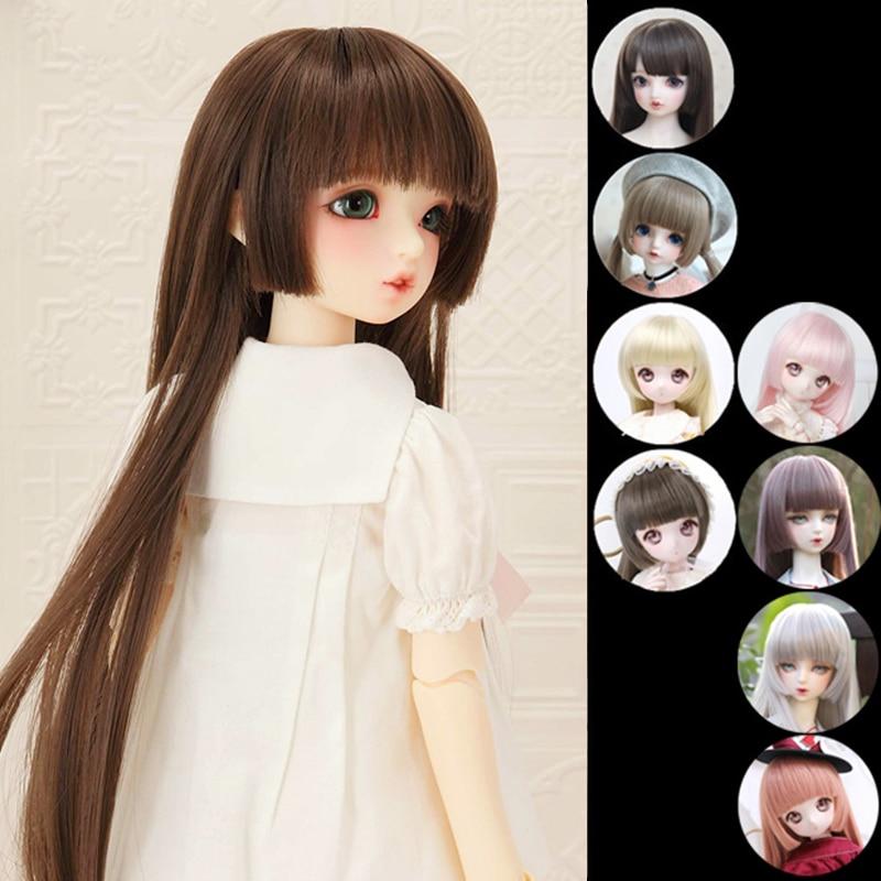 BJD doll hair wigs fashion bangs Long straight hair red black for 1/3 1/4 1/6 1/8 SD DD MSD YOSD BJD doll wig doll accessories
