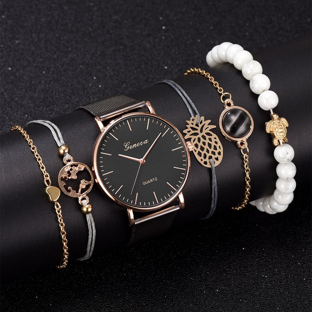 6pcs Set Women's Watches Simple Fashion Women Wrist Watch Luxury Ladies Watch Women Bracelet Reloj Mujer Clock Relogio Feminino