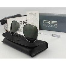 RANDOLPH Sunglasses Polarized Glass Lens Men Woman Brand American Army Military Pilot Sun Glasses RE61 Original box Top Quality