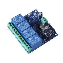 Módulo de relé da c.c. 12v esp8266 & ESP 01 wifi quatro canais para a mobília inteligente da casa inteligente
