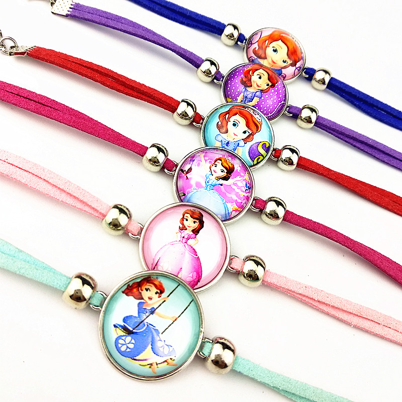 24 шт новые стили мультфильм кукла красочные бусы стеклянные браслеты ожерелье брелок кольцо серьги ювелирные изделия серии для девочек - Окраска металла: pink