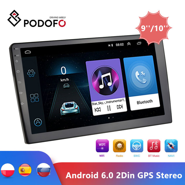 Автомагнитола Podofo, 2DIN, 9/10 дюйма, GPS, Bluetooth, Wi Fi