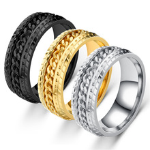 Stainless steel ring tire pattern chain running ring men and women titanium steel jewelry wholesale delicate titanium steel rhinestone ring jewelry for men