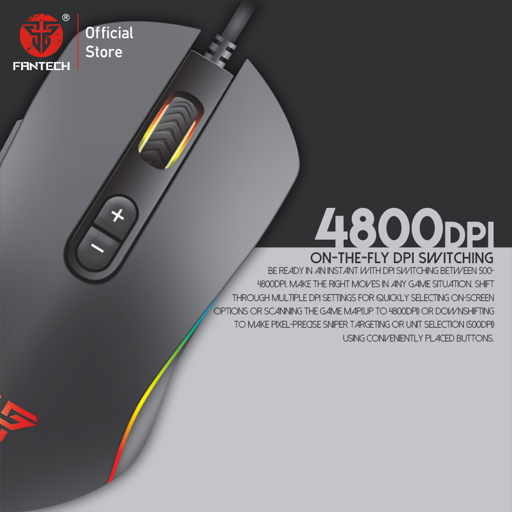 Image 3 - FANTECH X9 Mouse game selection Adjustable 4800 DPI 7 Button Macro Professional Wired Gaming Mouse Optical Mice for PC Game-in Mice from Computer & Office