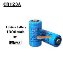 Комплект из 2 предметов, 3V CR123A ячейка литиевой батареи 1300 мА/ч, CR123 CR17335 CR17345 16340 LiMnO2 сухая Первичная батарея для камеры