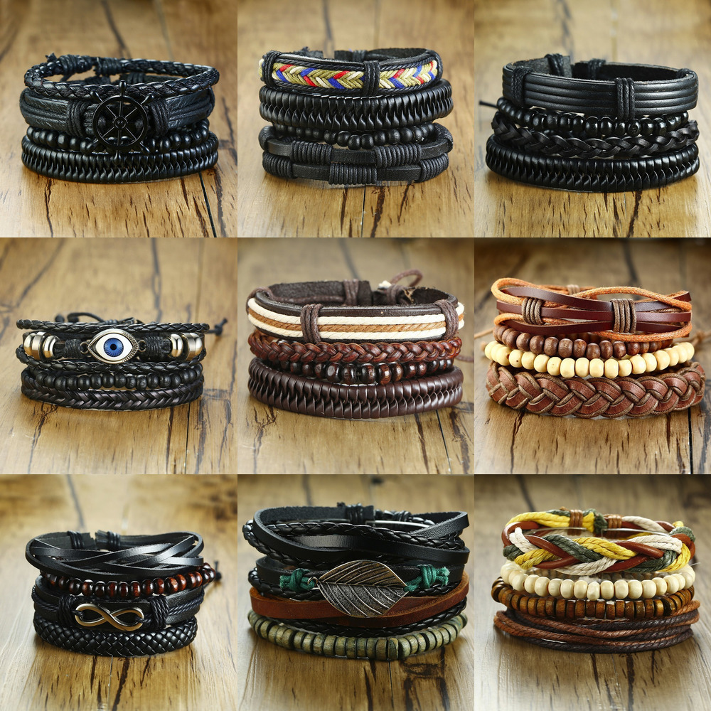 Vnox Mix 4Pcs/ Set Braided Wrap Leather Bracelets for Men Women Vintage Wooden Beads Ethnic Tribal Wristbands Bracelet Rudder 3