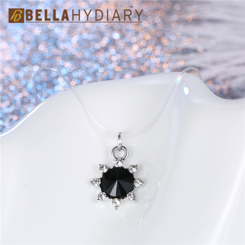 Black Transparent Fishing Line Necklace Silver Invisible Chain Necklaces Pendants Round Rhinestone Choker Necklaces Collier