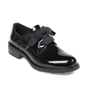 Image 1 - Zapatos planos de cuero para mujer, mocasines de charol a la moda, negros, informales, Oxford, para oficina, elegante, Otoño, 2020