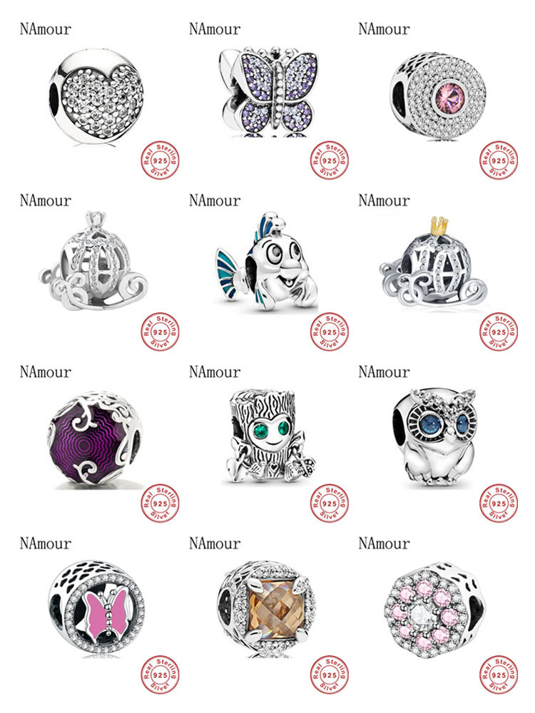 New Mermaid owl butterlfy pumpkin car Bead fit original Pandora charms 925 sterling silver Bracelet for women fashion jewelry(China)