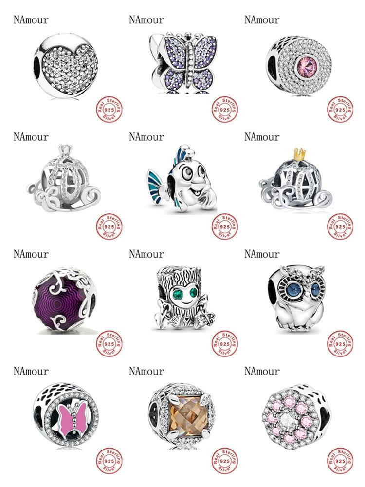 New Mermaid owl butterlfy pumpkin car Bead fit original Pandora charms 925 sterling silver Bracelet for women fashion jewelry(China)