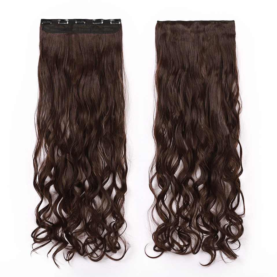 Hdcd75da73e67425095e7621a43622390G - s-noilite Long wavy Clip in One Piece hair Extensions hair synthetic natural hair Black Brown blonde women clip in hairpiece