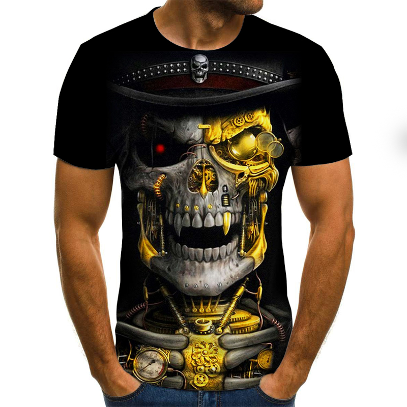 2020 Brand Motorcycle T Shirt Punk T-shirt Knight Shirts 3d T Shirt Men Casual Vintage Hip Hop Summer Tee Top Homme Clothes