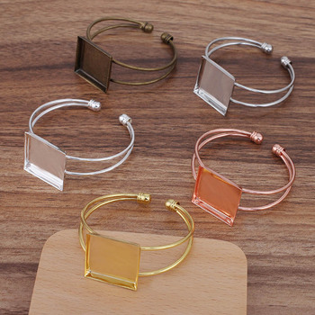 10pcs Ladies Bangle with 25mm Square Deep Wall Bezel Cameo Bases Blanks Punk cuff Bracelet Settings Hip Hop Bangles for Women фото