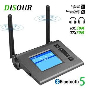 Image 1 - Transmisor receptor de Audio Bluetooth de largo alcance, 70M, para TV con antena Aptx HD, adaptador inalámbrico Spdif Optica AUX de baja latencia