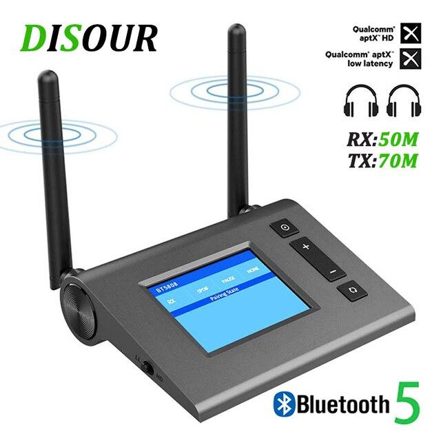 Transmisor receptor de Audio Bluetooth de largo alcance, 70M, para TV con antena Aptx HD, adaptador inalámbrico Spdif Optica AUX de baja latencia