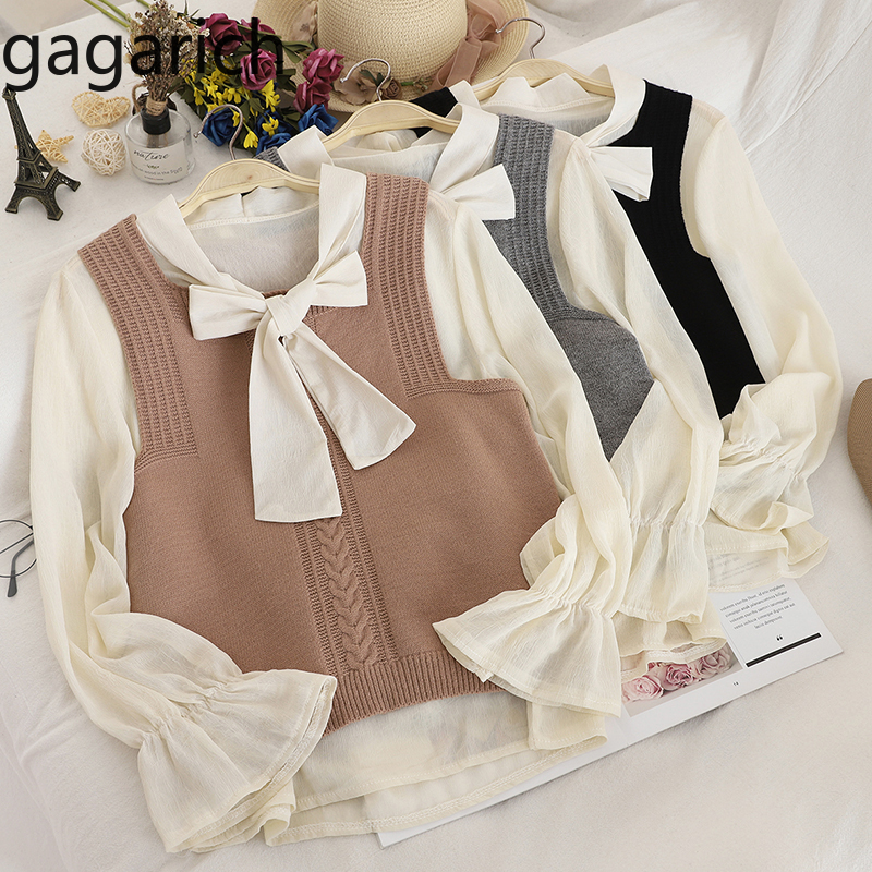 Gagarich Women Two Pieces Sets Korean Casual Knitted Vests Sweet Solid Bow Tie Chiffon Blouse Fashion Femme Sets Chic Spring